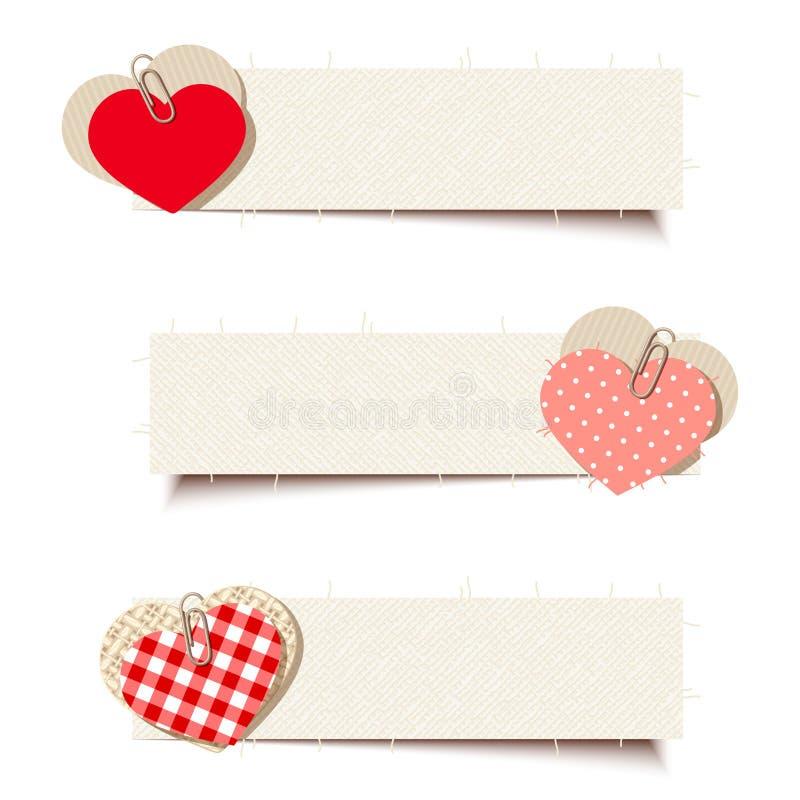 Banderas de la tarjeta del día de San Valentín con los corazones del papel y del trapo Vector EPS-10 libre illustration