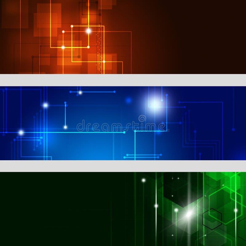 Banderas de la tecnología stock de ilustración