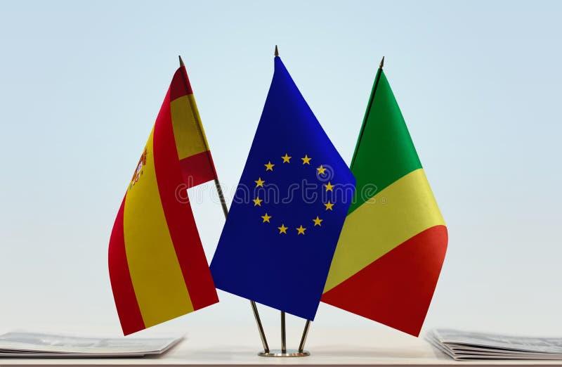 Banderas de la UE de España y del República del Congo imagenes de archivo