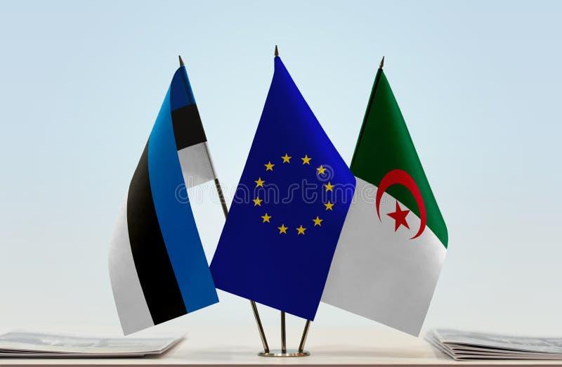 Banderas de la UE de Estonia y de Argelia ilustración del vector