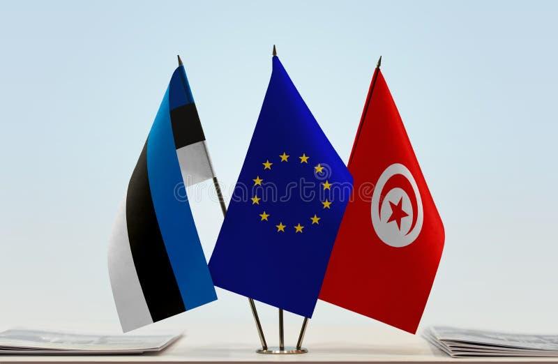 Banderas de la UE de Estonia y de Túnez stock de ilustración