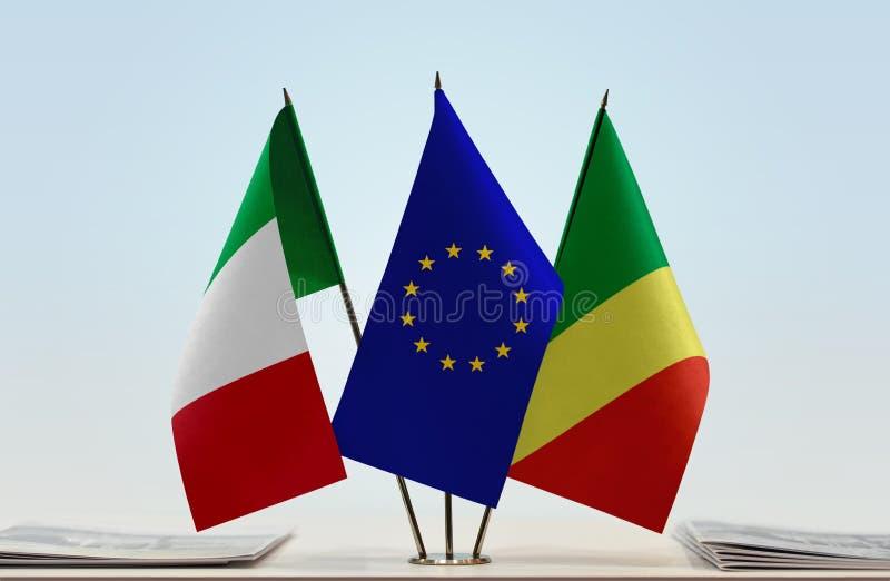 Banderas de la UE de Italia y del República del Congo foto de archivo