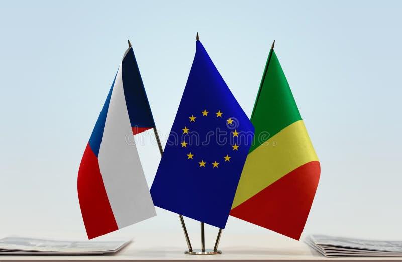 Banderas de la UE de la República Checa y del República del Congo fotografía de archivo