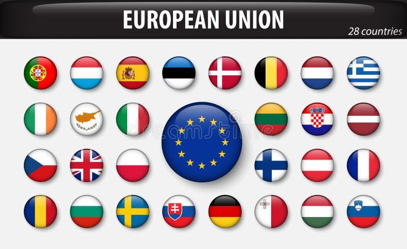 Banderas de la unión europea y de miembros ilustración del vector