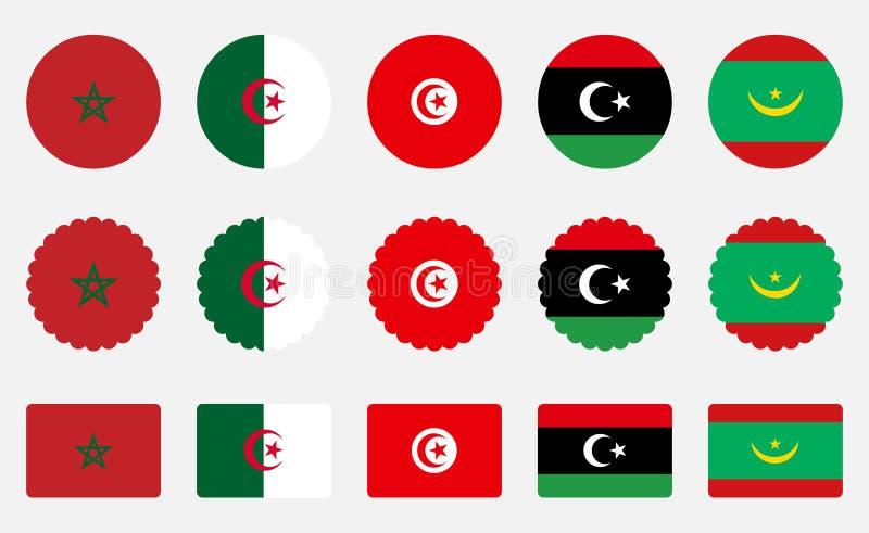 Banderas de la unión marroquí fotos de archivo libres de regalías
