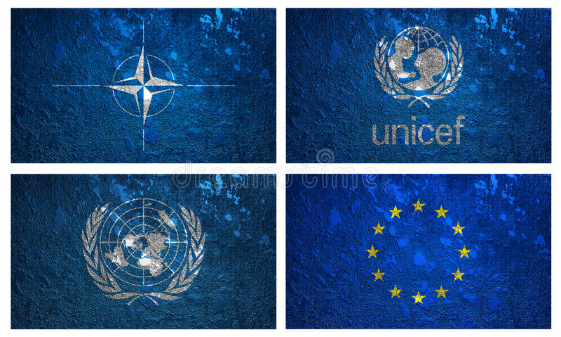 Banderas de la Unicef, de la OTAN, de la nación unida y del EURO ilustración del vector
