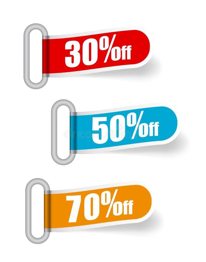 Banderas de la venta de la colección del vector, etiquetas, etiquetas, tarjetas Estilo moderno plano Banderas rojas, azules, anar stock de ilustración