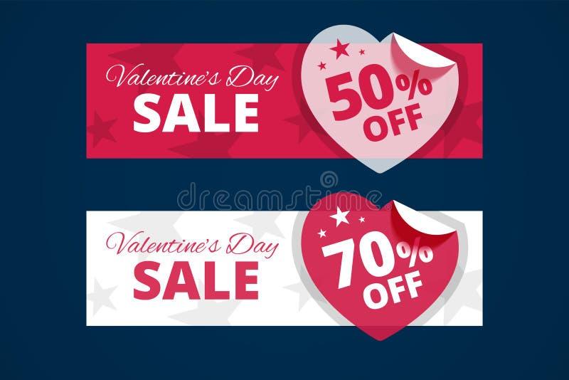 Banderas de la venta del día de tarjetas del día de San Valentín stock de ilustración