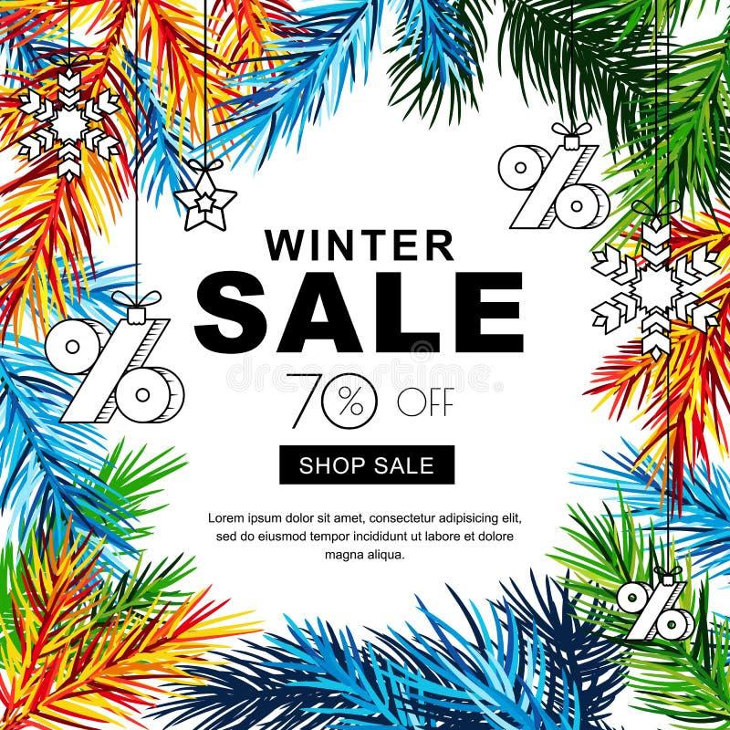 Banderas de la venta del invierno con las ramas del abeto y los juguetes multicolores del bosquejo Cartel de las vacaciones de in ilustración del vector
