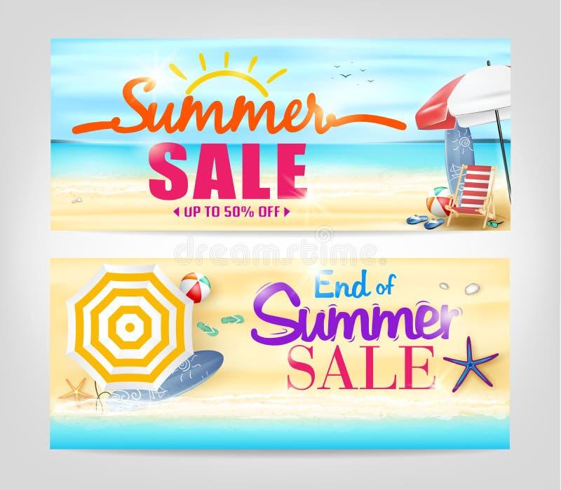 Banderas de la venta del verano en un fondo de la playa stock de ilustración