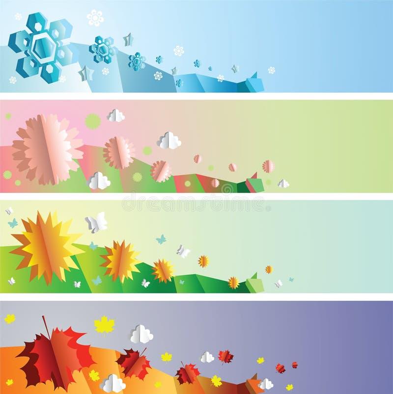 Banderas de las estaciones fijadas ilustración del vector