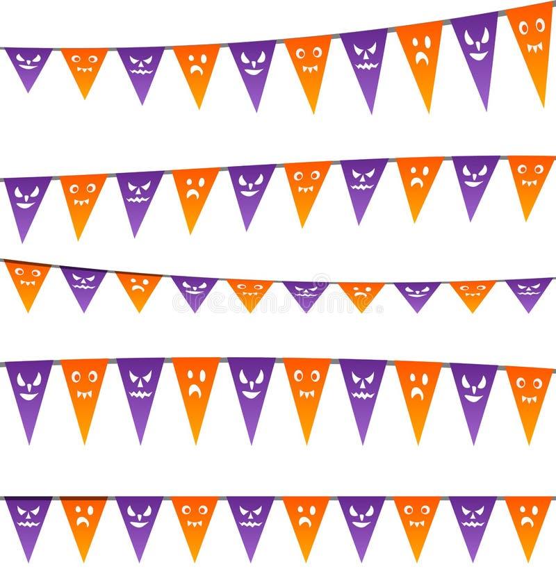 Banderas de las flámulas de la ejecución de Halloween para su partido stock de ilustración