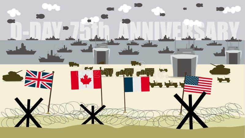 Banderas de las fuerzas aliadas en las playas de aterrizaje en Normandía Francia ilustración del vector