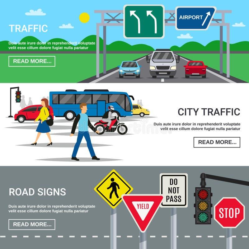 Banderas de las señales de tráfico del tráfico de ciudad ilustración del vector