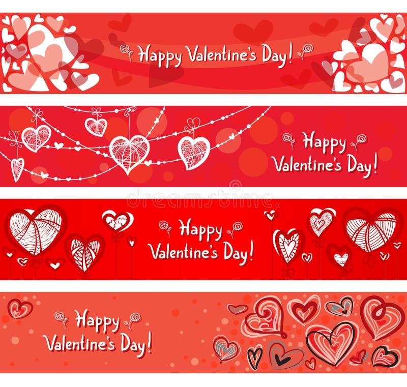 Banderas de las tarjetas del día de San Valentín stock de ilustración
