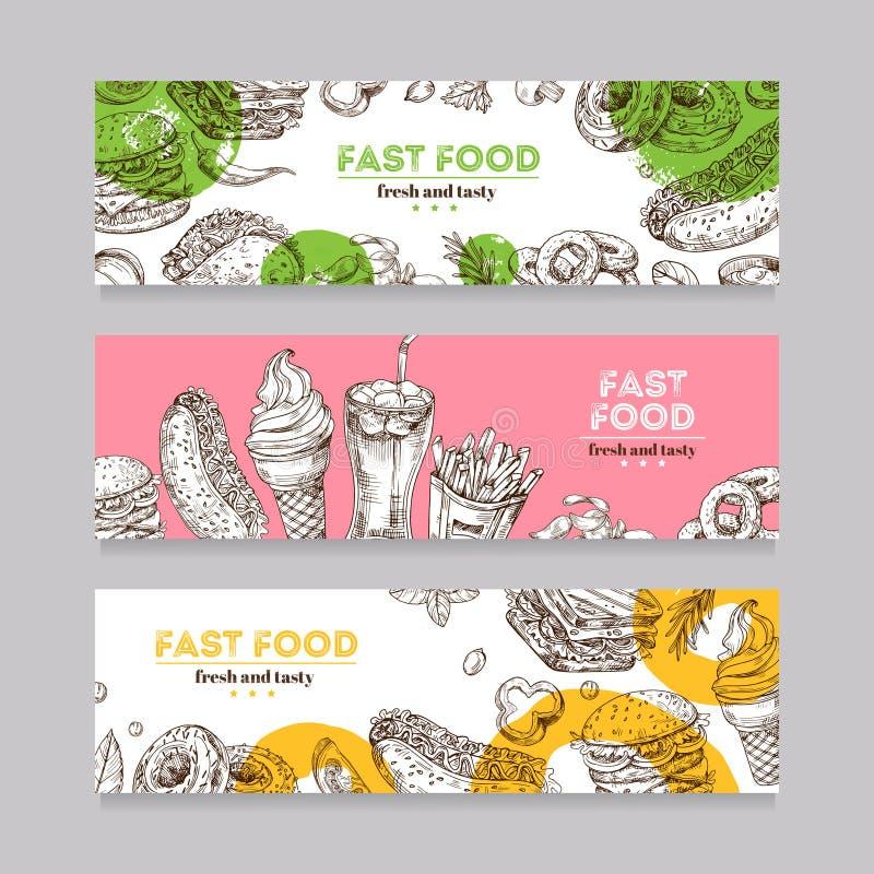 Banderas de los alimentos de preparación rápida Hamburguesa del bosquejo, pizza, y bocado, bocadillo, helado y microprocesadores  ilustración del vector