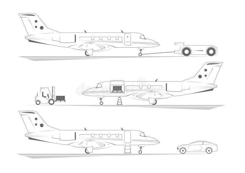 Banderas de los aviones Tres escenas en el aeropuerto libre illustration