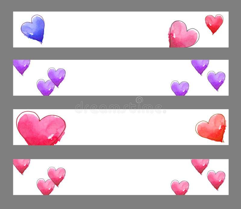 Banderas de los corazones stock de ilustración