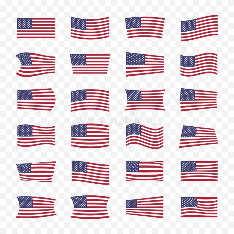 Banderas de los E.E.U.U. fijadas con diversos efectos de doblez ilustración del vector