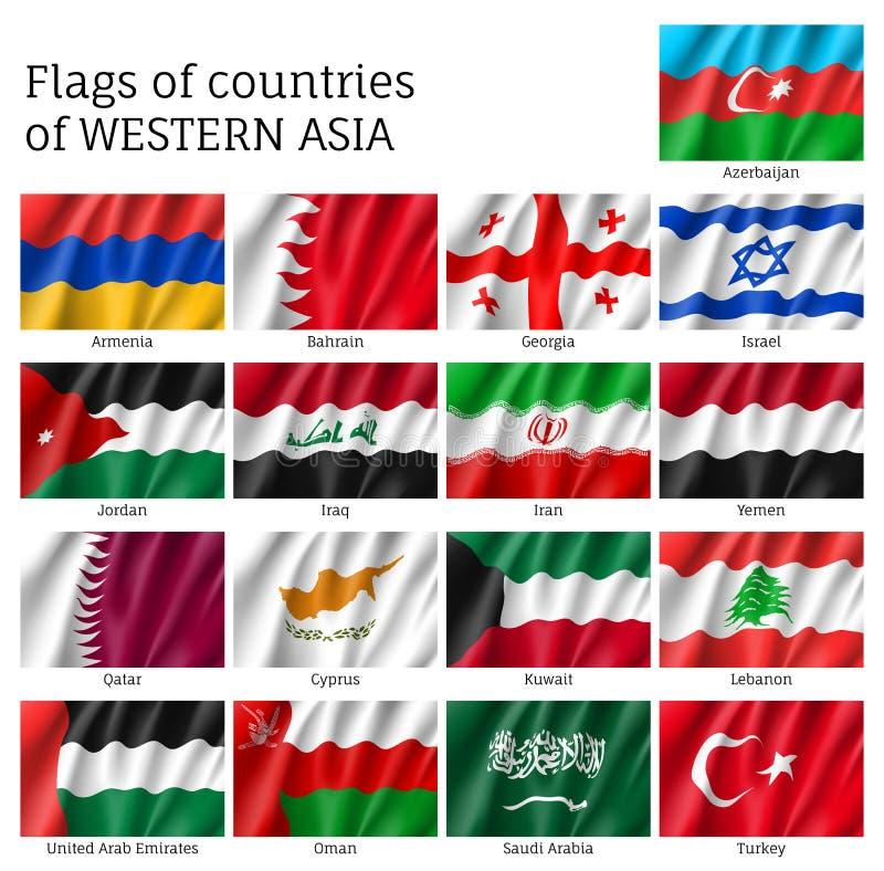 Banderas de los estados occidentales de Asia libre illustration