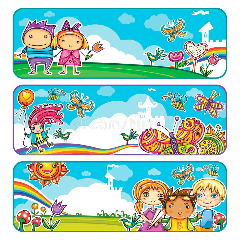 Banderas de los niños del verano ilustración del vector