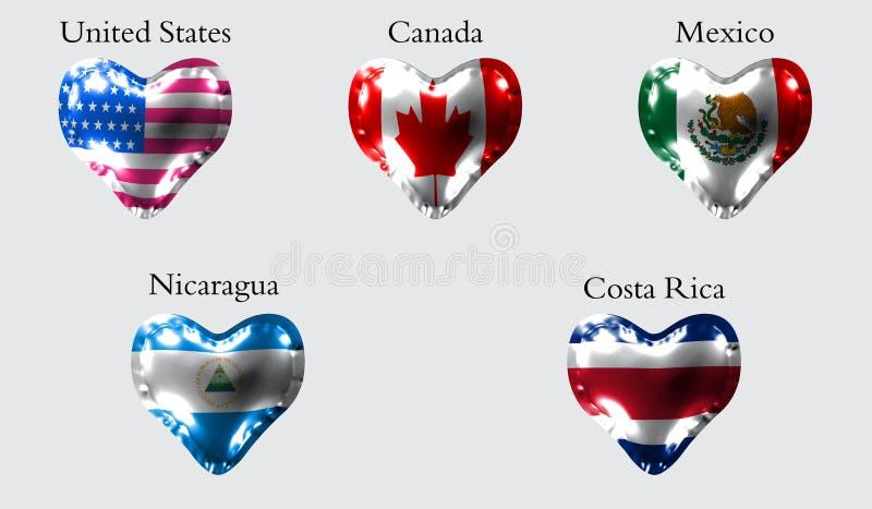 Banderas de los países de América Las banderas de Estados Unidos, Canadá, México, Nicaragua, Costa Rica en una bola del aire bajo ilustración del vector