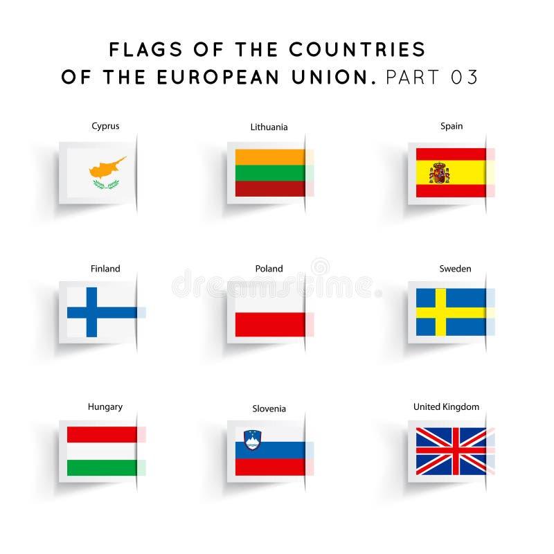 Banderas de los países de UE ilustración del vector