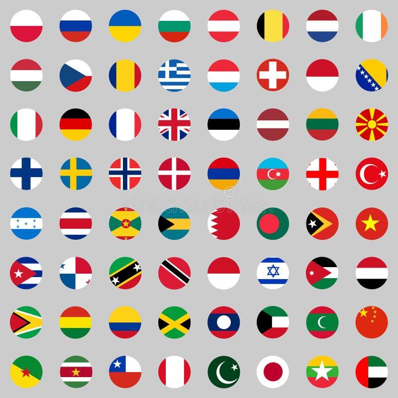 Banderas de los países del mundo, un sistema grande de banderas de los países diferentes libre illustration