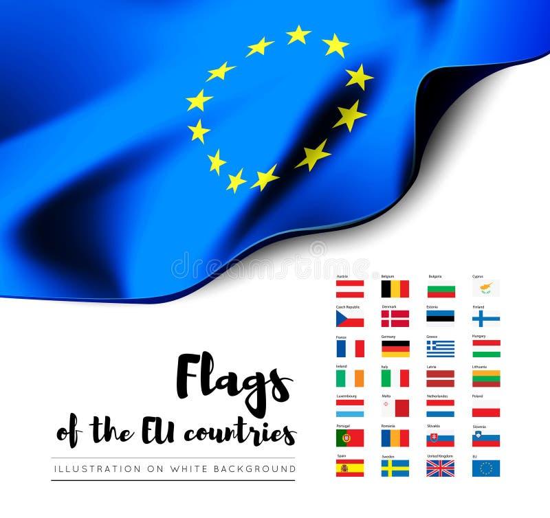 Banderas de los países de la unión europea Banderas del Eu Sistema del vector libre illustration