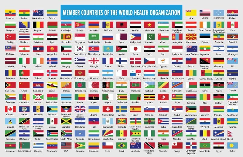 Banderas de los países miembros de la Organización Mundial de la Salud stock de ilustración
