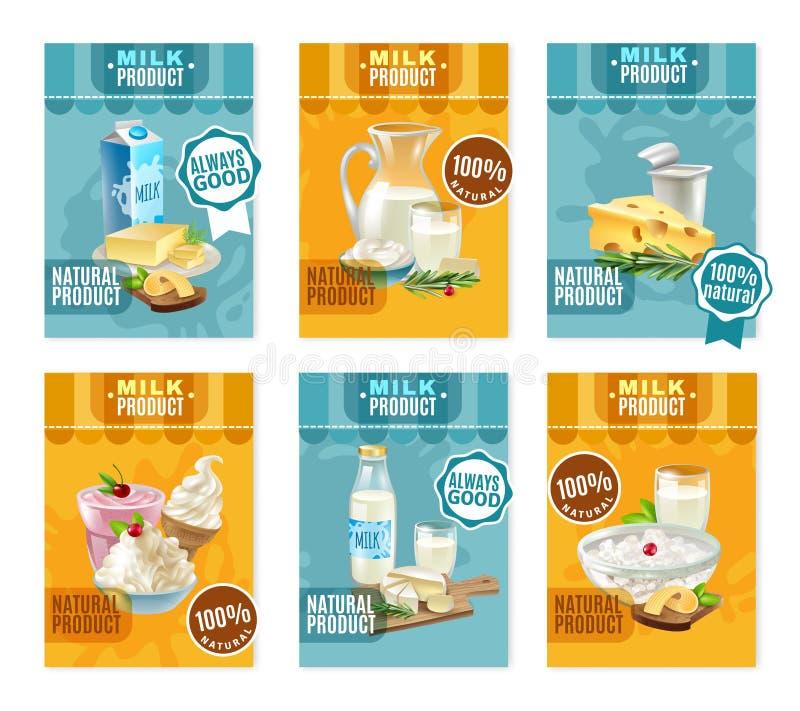 Banderas de los productos lácteos fijadas libre illustration