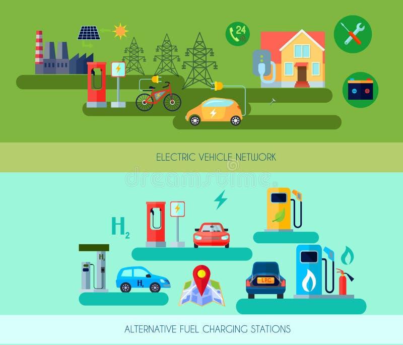 Banderas de los vehículos de la energía alternativa fijadas stock de ilustración