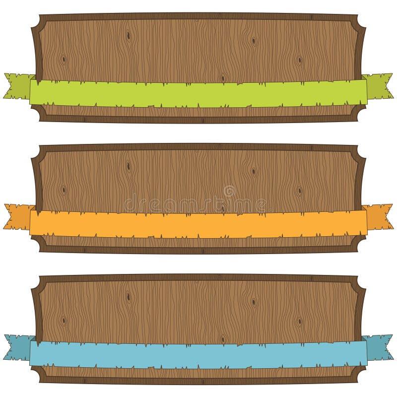 Banderas de madera stock de ilustración