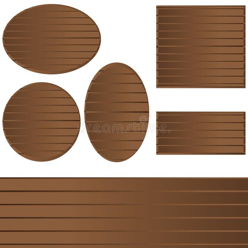 Banderas de madera fijadas para la web y la impresión stock de ilustración