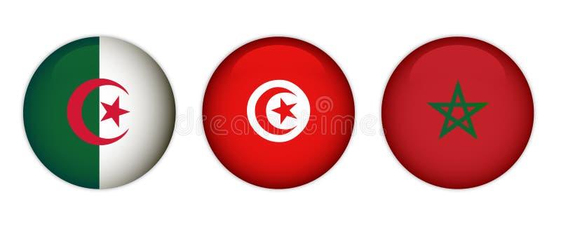 Banderas de Marruecos, de Argelia y de Túnez fotos de archivo libres de regalías
