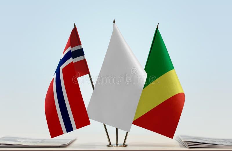 Banderas de Noruega y del República del Congo foto de archivo libre de regalías