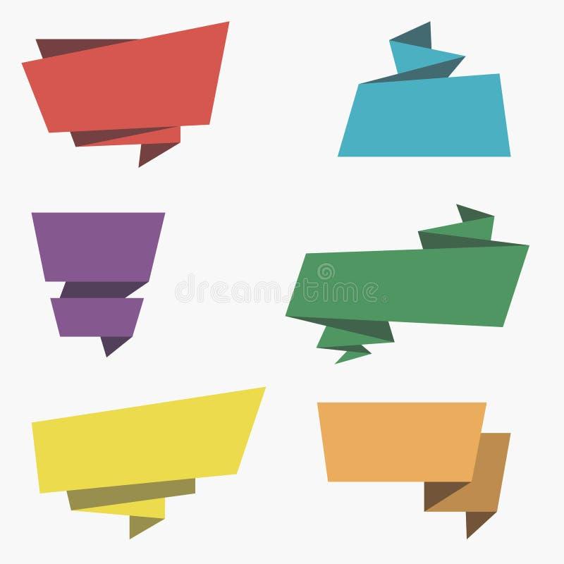 Banderas de Origami Sistema de etiquetas de papel coloridas con el espacio para su texto ilustración del vector