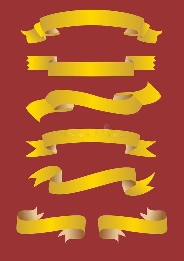 Banderas de oro stock de ilustración