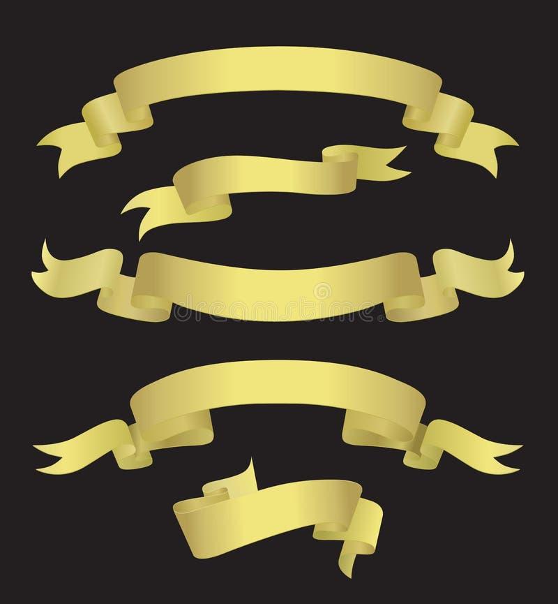 Banderas de oro (ilustración) ilustración del vector