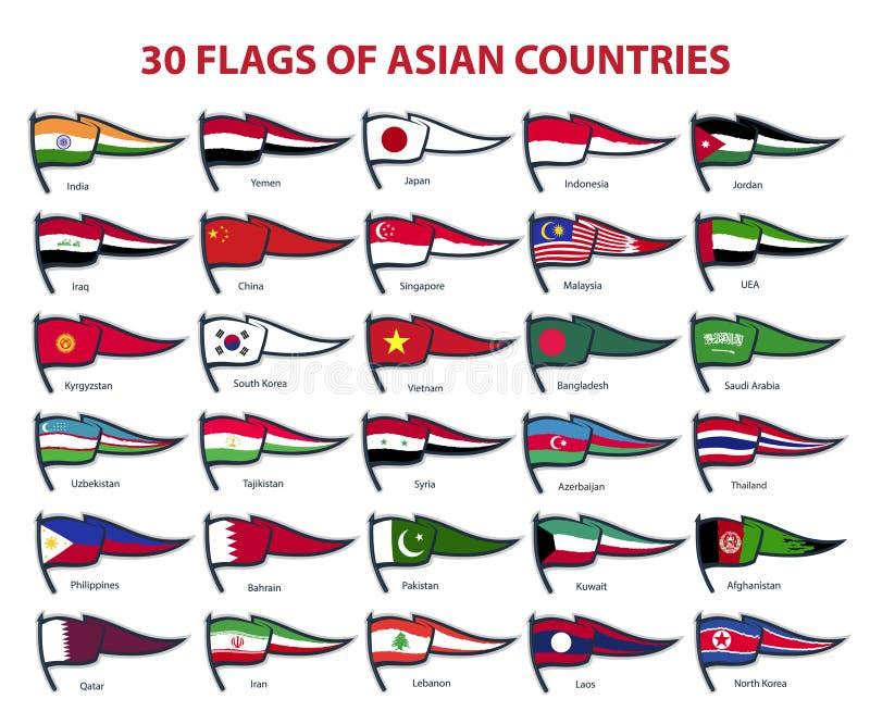 30 banderas de países asiáticos ilustración del vector