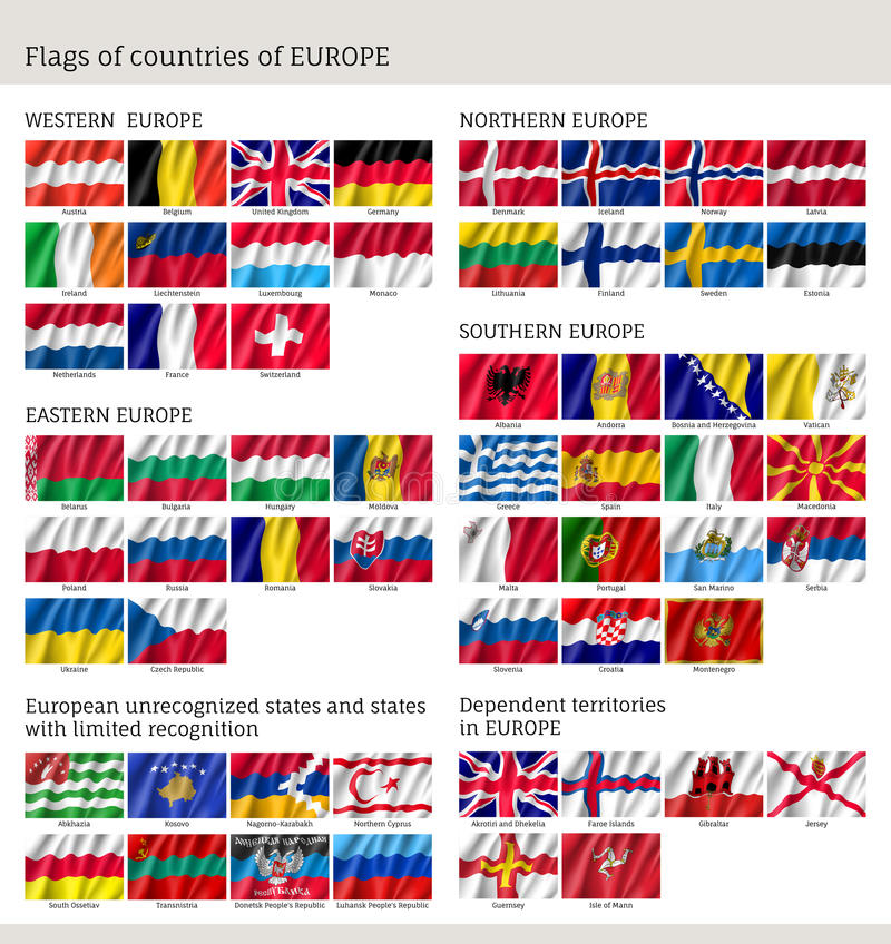 Banderas de países del sistema grande de la bandera de Europa libre illustration