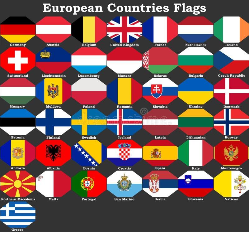 Banderas de pa?ses europeos ilustración del vector