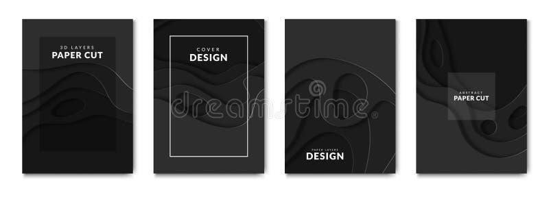 Banderas de papel del negro del corte Ondas del cartón con el efecto 3d Plantillas de la disposición de Papercut para los folleto libre illustration