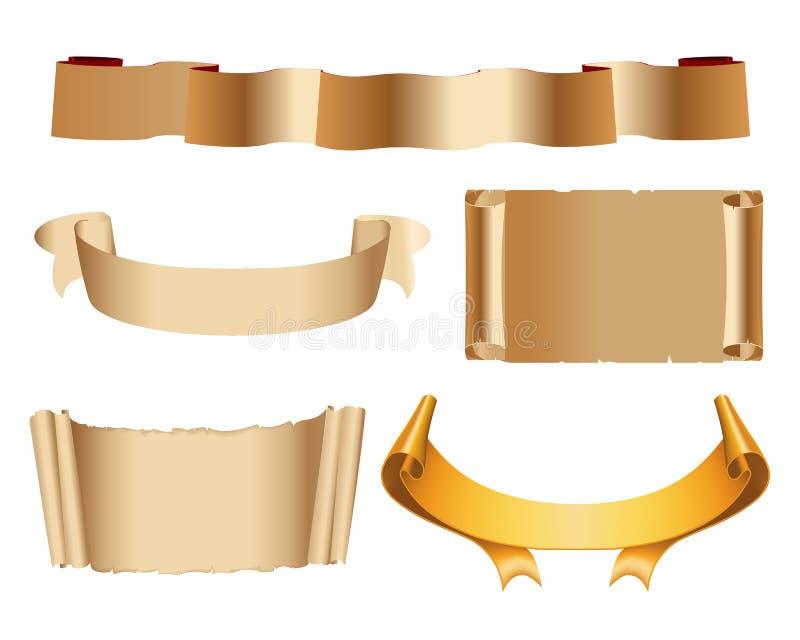Banderas de papel viejas ilustración del vector