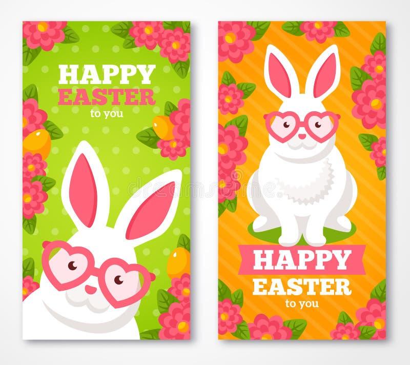 Banderas de Pascua con el conejo blanco lindo plano stock de ilustración