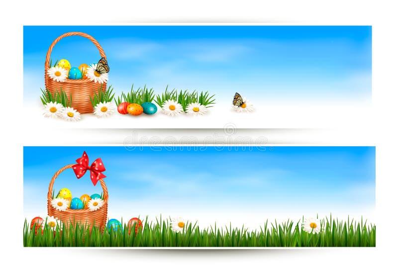 Banderas de Pascua con los huevos de Pascua en cesta y flujo ilustración del vector