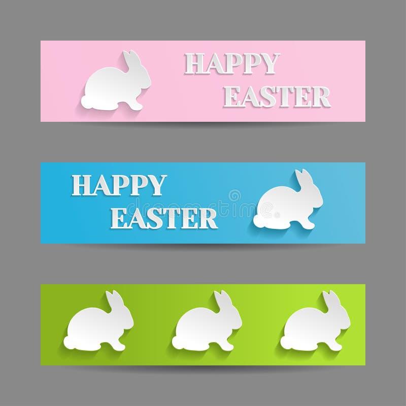 Banderas de Pascua fijadas con el conejito del conejo stock de ilustración
