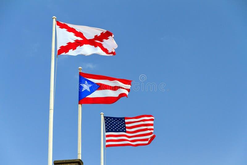 Banderas de Puerto Rico fotos de archivo libres de regalías