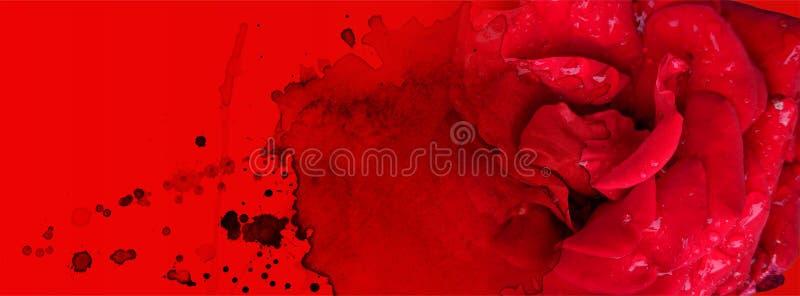 Banderas de San Valentín con fondo de color rojo intenso y manchas de color agua imagen de archivo