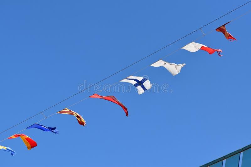 Banderas de señal marítimas fotografía de archivo
